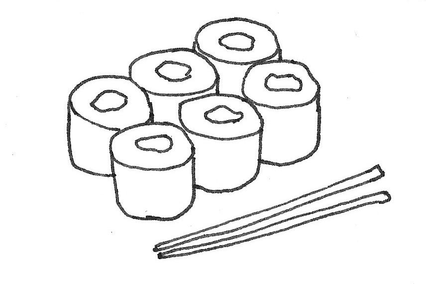 Image of sushi and chopsticks