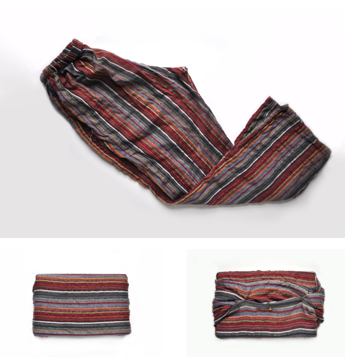 Images of gift wrap made out of old colorful pants with stripes on them
