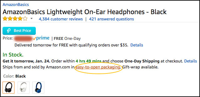 Image of the Title and Details for a product on Amazon.com
