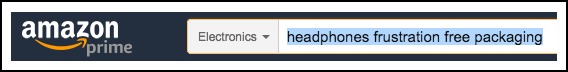 """Image of the Amazon.com Search Bar with the words """"headphones frustration free packaging"""" in it"""