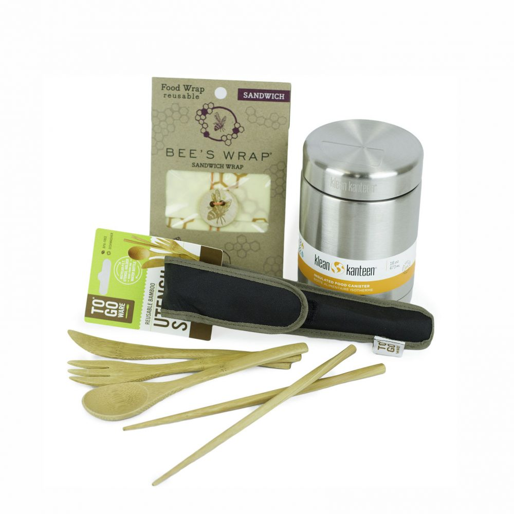 Image of a Bamboo utensil set, Beeswax Wraps and a food canister