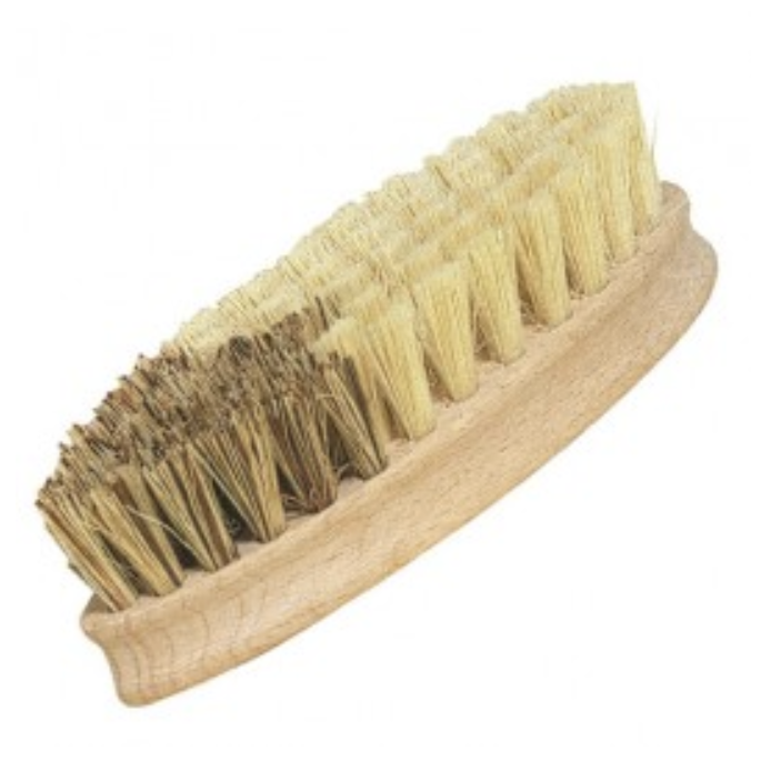Image of a wooden cleaning brush with natural bristles