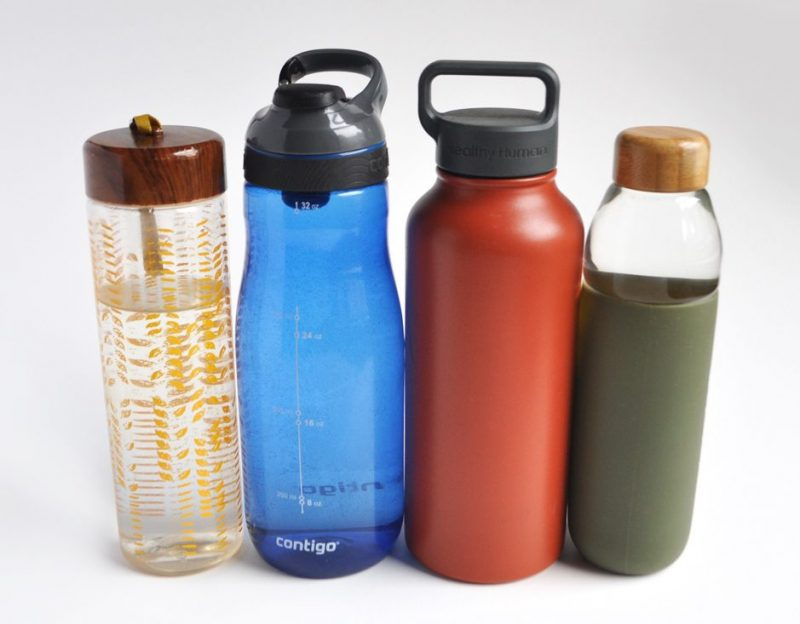 Image of four different types of reusable water bottles