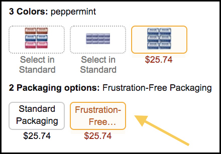 Image of the Frustration Free Amazon packaging options