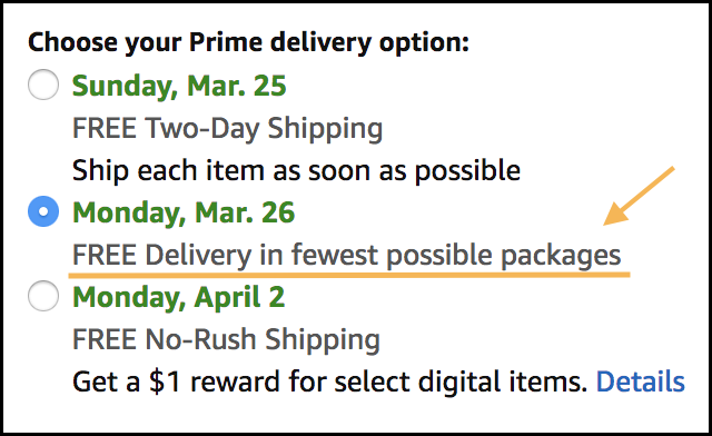 Image of the shipping options on Amazon
