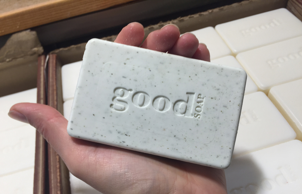 Image of a hand holding a bar of soap