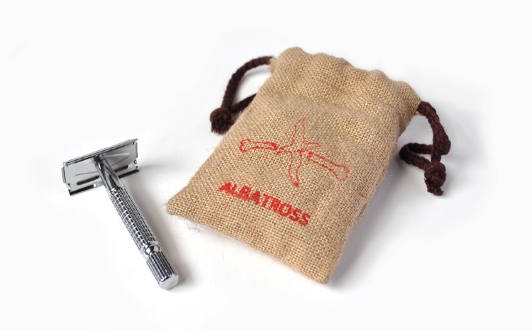 Image of an Albatross Metal Safety Razor with a Hemp drawstring carrying case