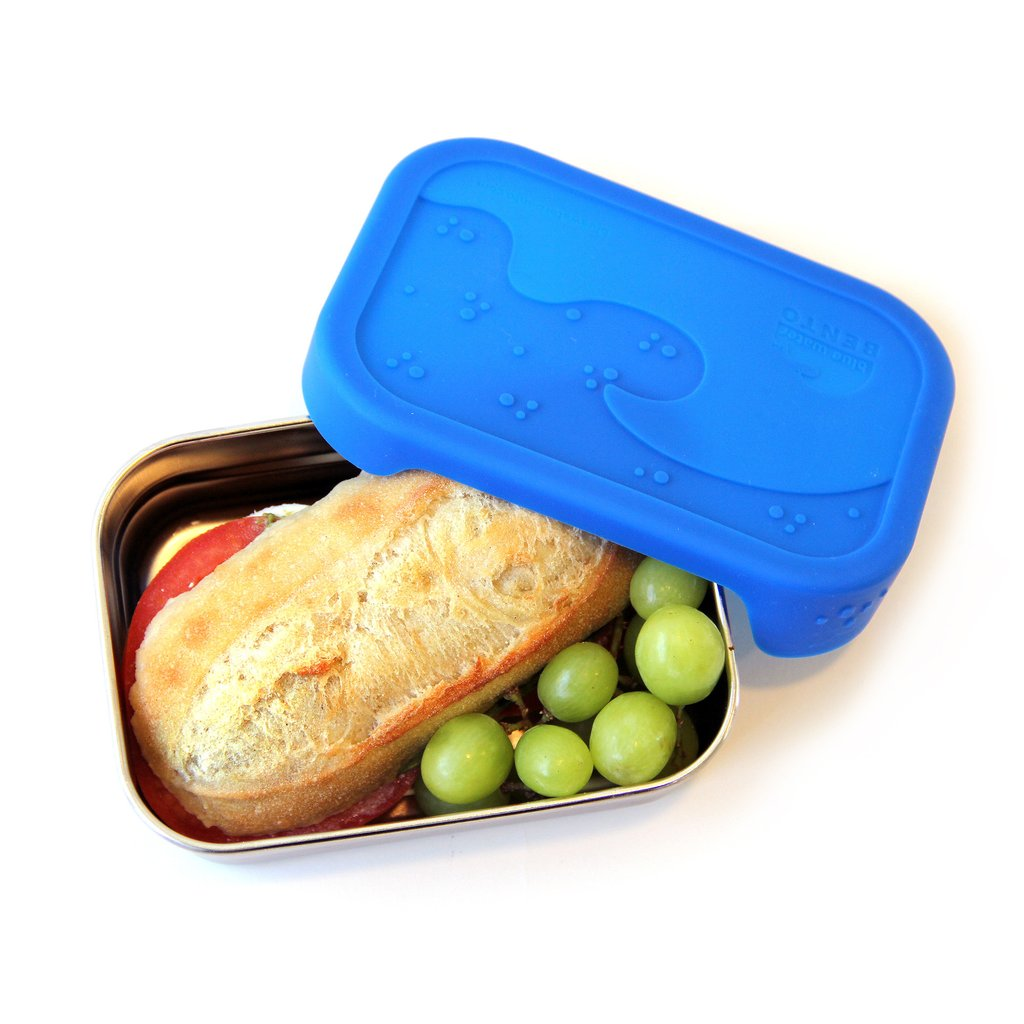 Image of the Splash Bento Box with a blue silicone lid and a sandwich and grapes inside. This is ideal for a zero waste travel kit