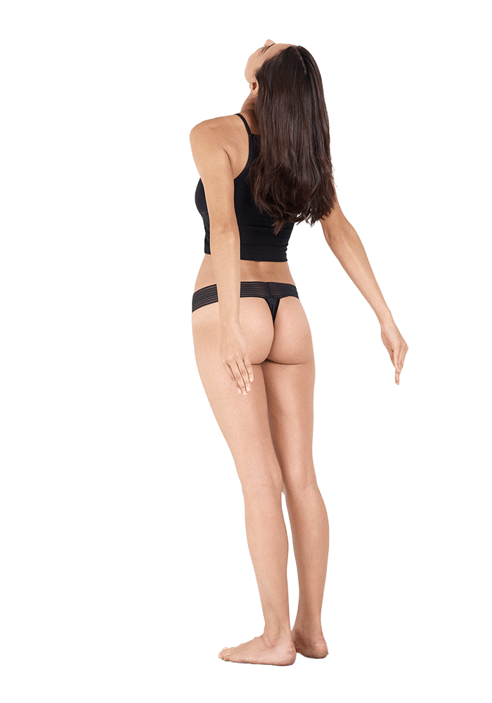 Image of a woman wearing a THINX Thong Period Panty