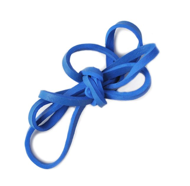 Image of a knotted blue rubber band, an item that is typically not recyclable