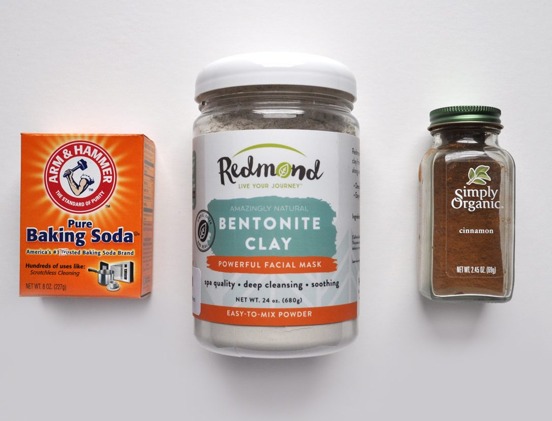 Image of the ingredients for my bentonite clay tooth powder: baking soda, bentonite clay and organic cinnamon