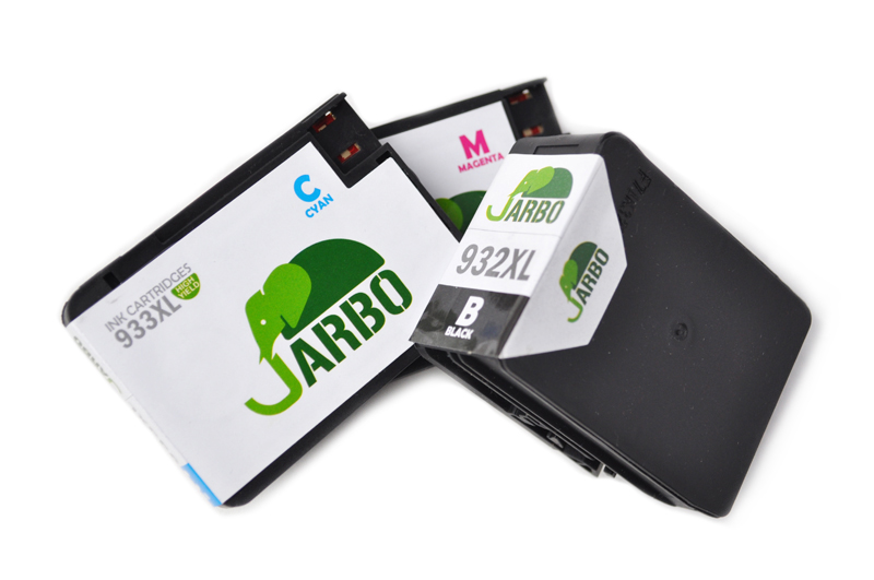 Image of three inkjet printer cartridges, which are recyclable