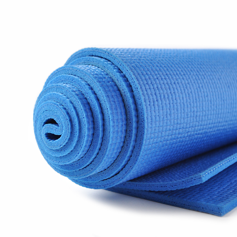 Image of a blue yoga mat that is rolled up. Yoga mats are recyclable in specific locations