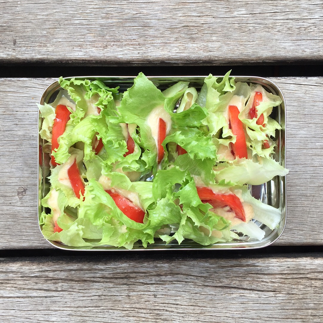 Image of a stainless steel bento box filled with lettuce, tomatoes and hummus.
