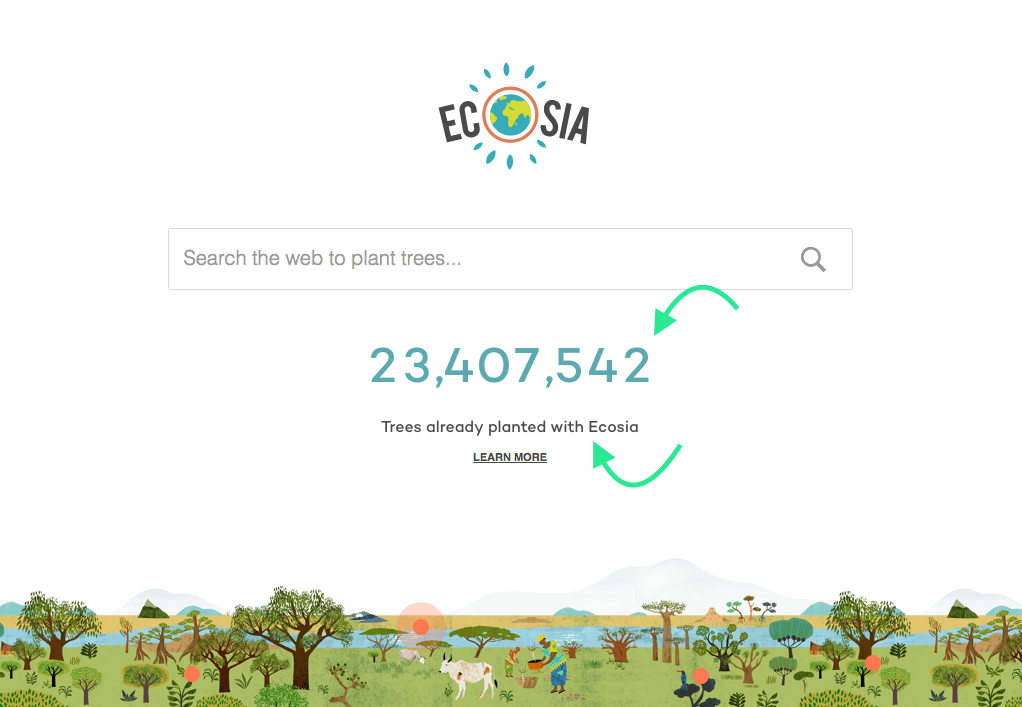 Image of the Ecosia Search Engine Home Page showing the number of Trees planted as a result of people using their search engine