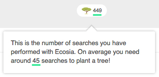 Image showing the details of Ecosia's Personal Tree Counter