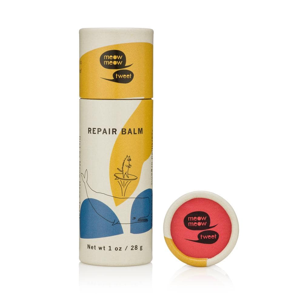 Image of a tube of Meow Meow Tweet's Repair Balm, ideal for your Zero Waste Toiletries