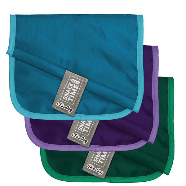 Image of 3 reusable snack bags made out of recycled PETe, which are perfect additions for a zero waste travel kit