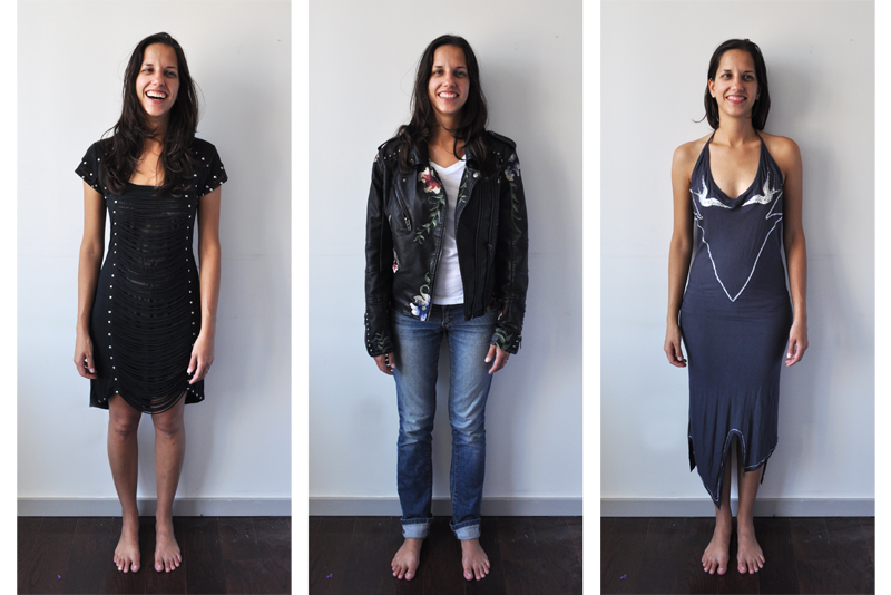 Three images of outfits I found while thrifting