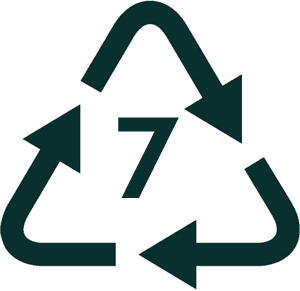 Image of a number 7 in a recycling arrow, which is used to identify compostable products