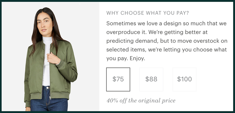 Screenshot from the Everlane website, showing the 'Choose What You Pay' options