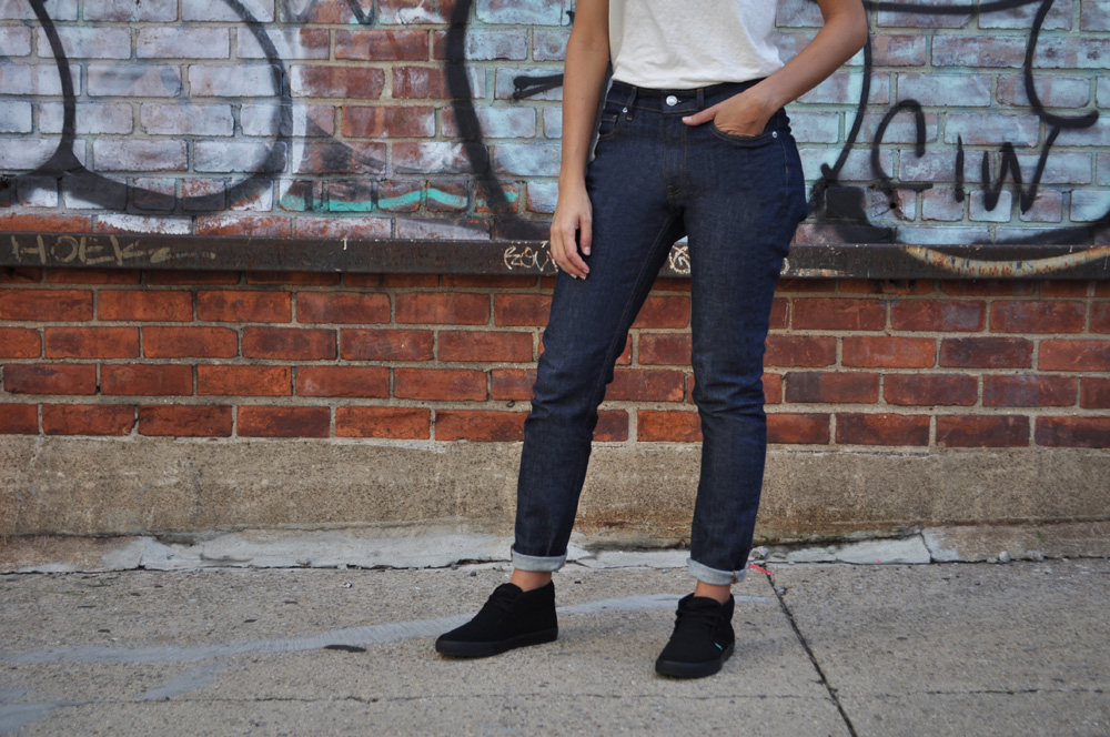 Image of a woman wearing a pair of Everlane Jeans