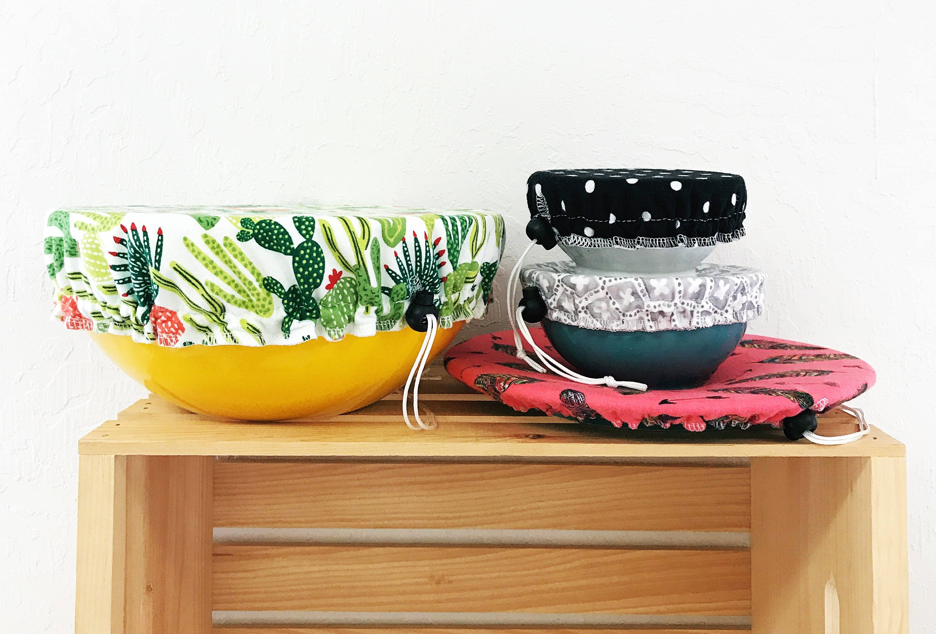 An image of cloth bowl covers for your next potluck. Why not bring a few extra as an eco-friendly gift for your host?