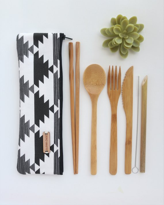 Image of bamboo utensils, an eco-friendly gift with optional chop-sticks