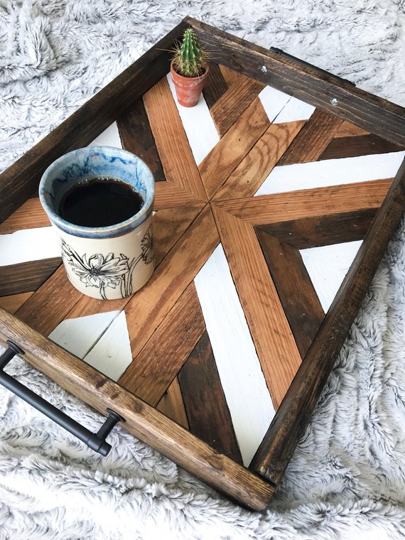 Image of a tray used from salvaged wood, a fitting addition to any home and a great option for an eco-friendly gift.