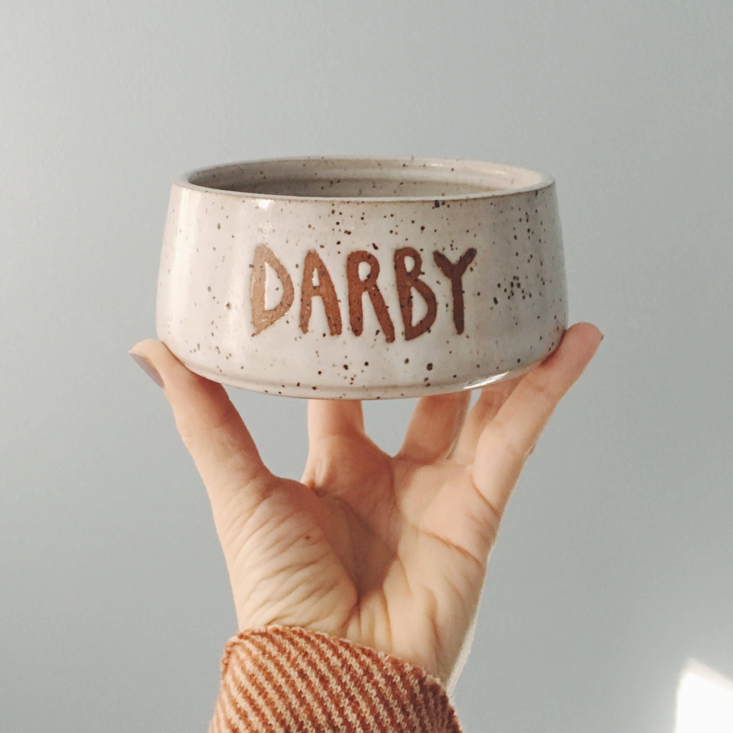An image of a hand-spun clay bowl, the perfect eco-friendly gift for your pet.