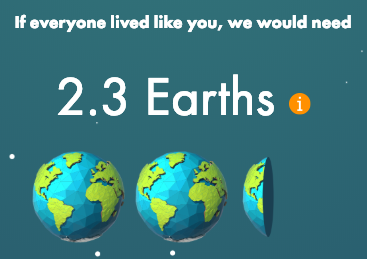 screenshot showing my ecological footprint