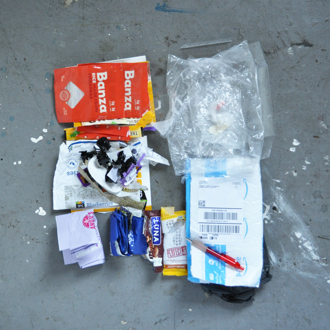 a picture of a small pile of non-recycleables from a waste audit