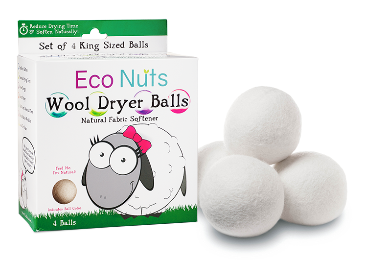 Image of wool drying balls next to the box that they come in