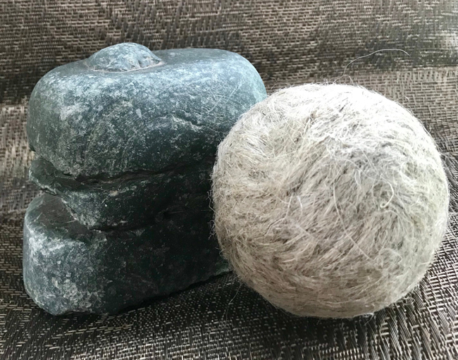 Image of a hemp dryer ball, one of the most eco friendly laundry tools available