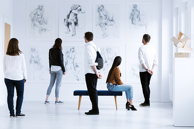 Image of Visitors in art gallery