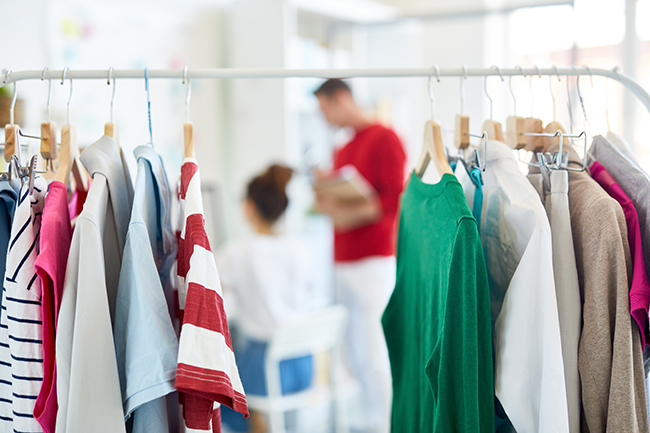 image of second-hand clothing on a rack