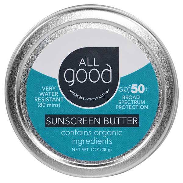 a metal tin of all good sun butter, one of several non toxic sun screens