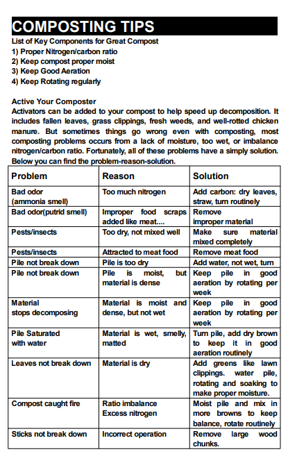 image of composting tips issued by a tumbler manufacturer