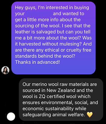 image of a conversation with a business showing what to look for when buying sustainable products
