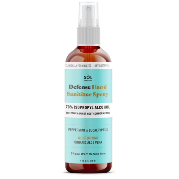 Image of a Sol's peppermint and eucalyptus defense hand sanitizer spray in a glass bottle