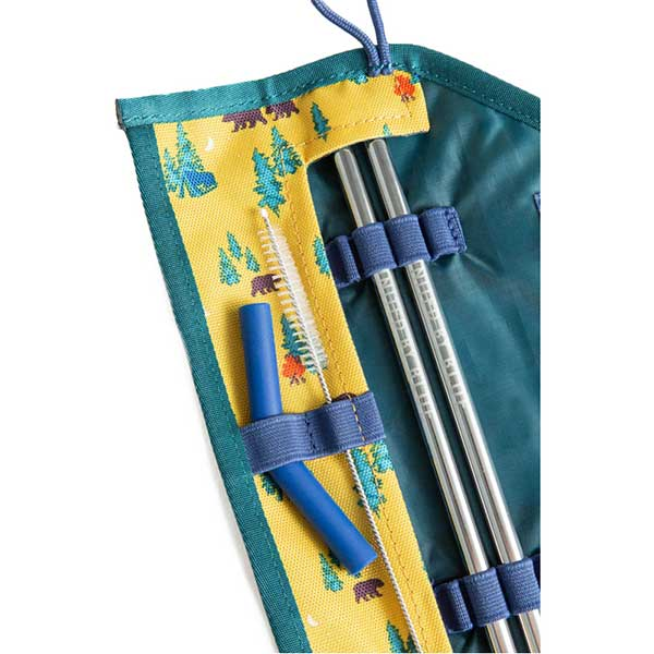 Image of a metallic straw set in a cloth case from United by Blue, one of the best stocking stuffer ideas