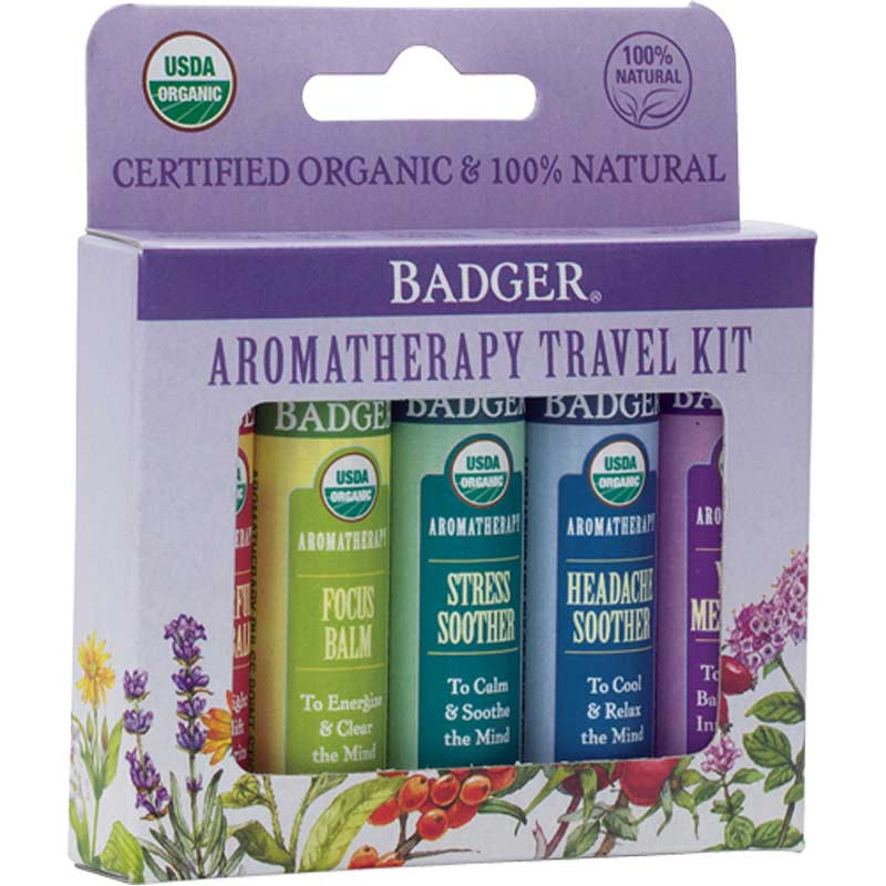 Image of a five-pack travel kit containing aromatherapy oils by Badger