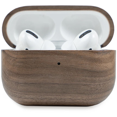 Image of an air pod case made from a walnut tree, an epic stocking stuffer