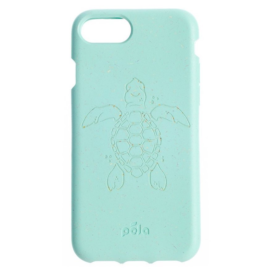 Image of an aqua green phone case with a turtle and the Pela logo engraved on the cover, one of the best stocking stuffer ideas