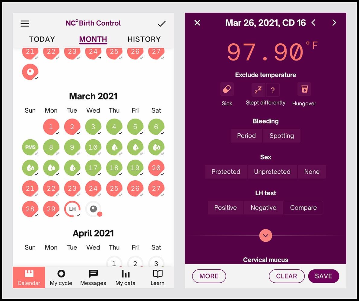 Screenshots of the Natural cycles app