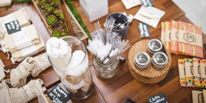 Image of zero waste products on a wooden table